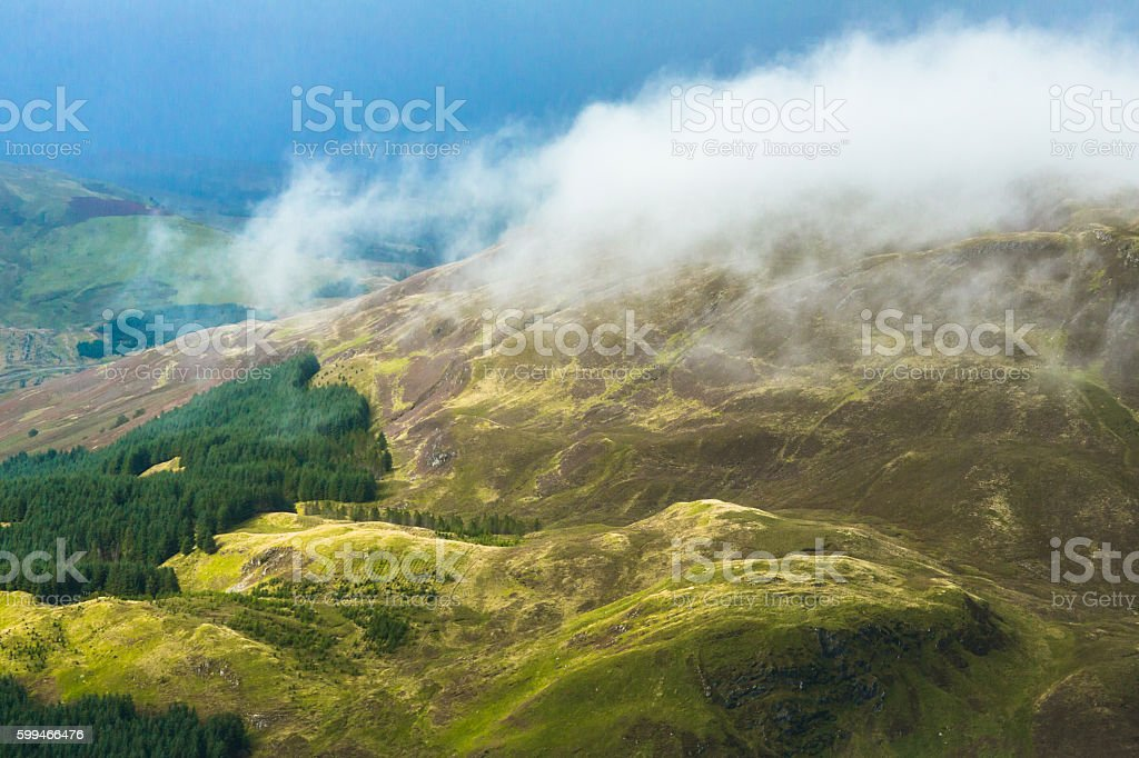 Fog over Scottish Highlands stock photo