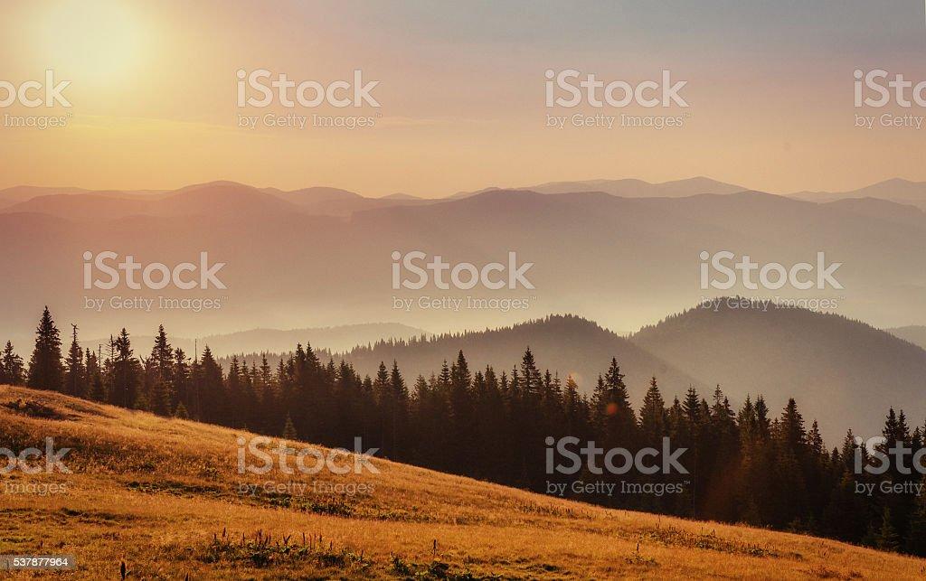 fog over the mountains. Carpathians. Ukraine. Europe stock photo