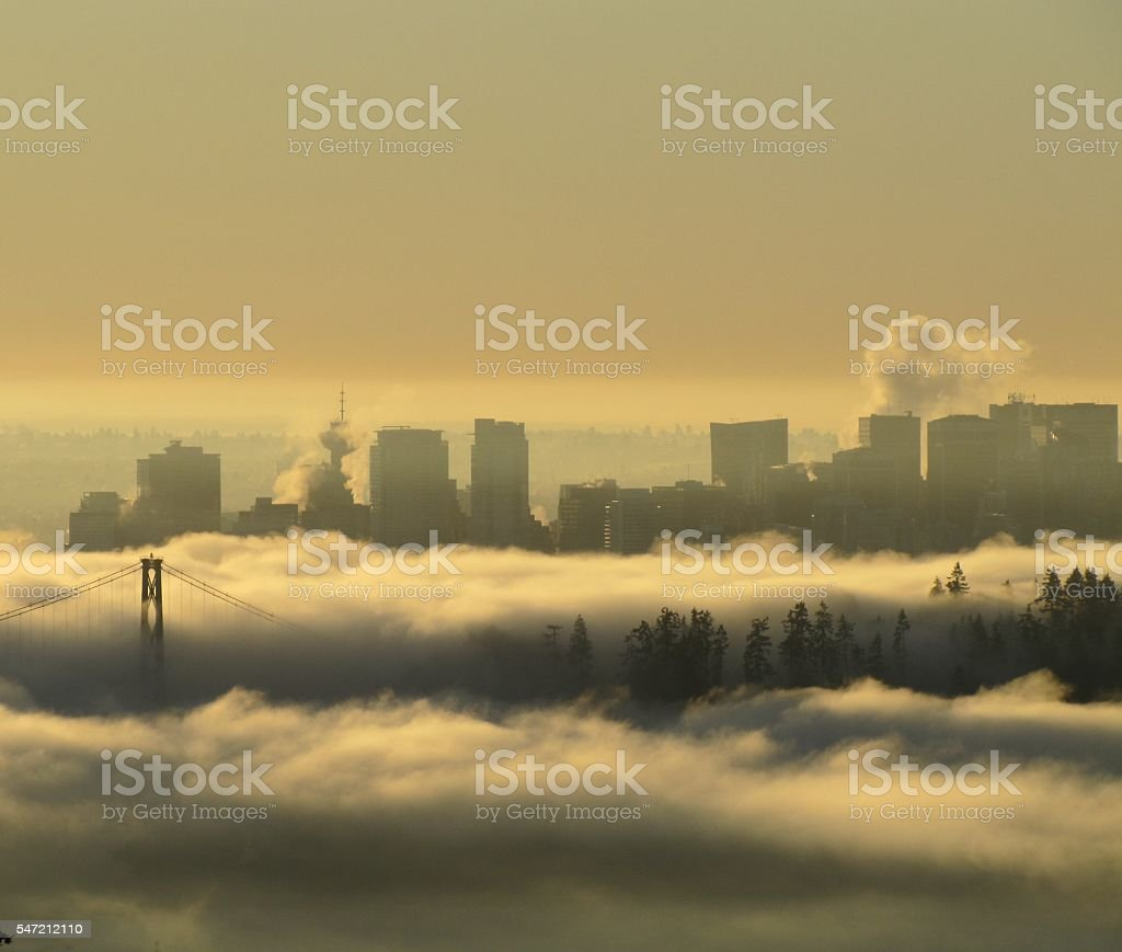 Fog over Vancouver B.C., Canada stock photo