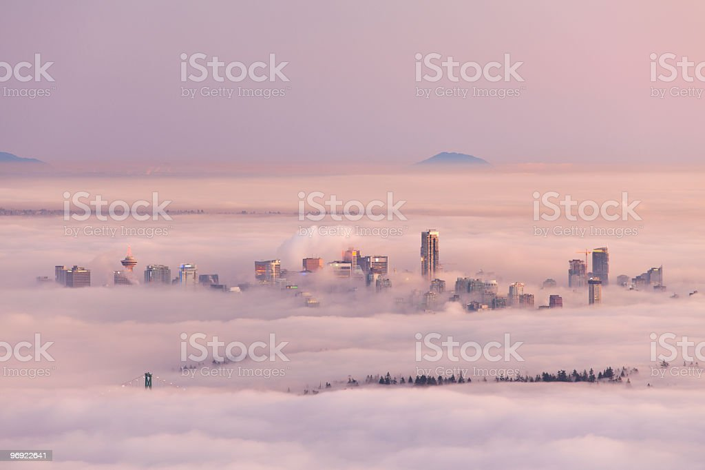 Fog Over Vancouver stock photo