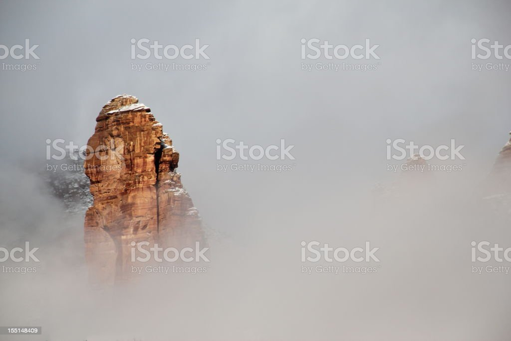Fog Red Rock Mountain Sedona Arizona royalty-free stock photo