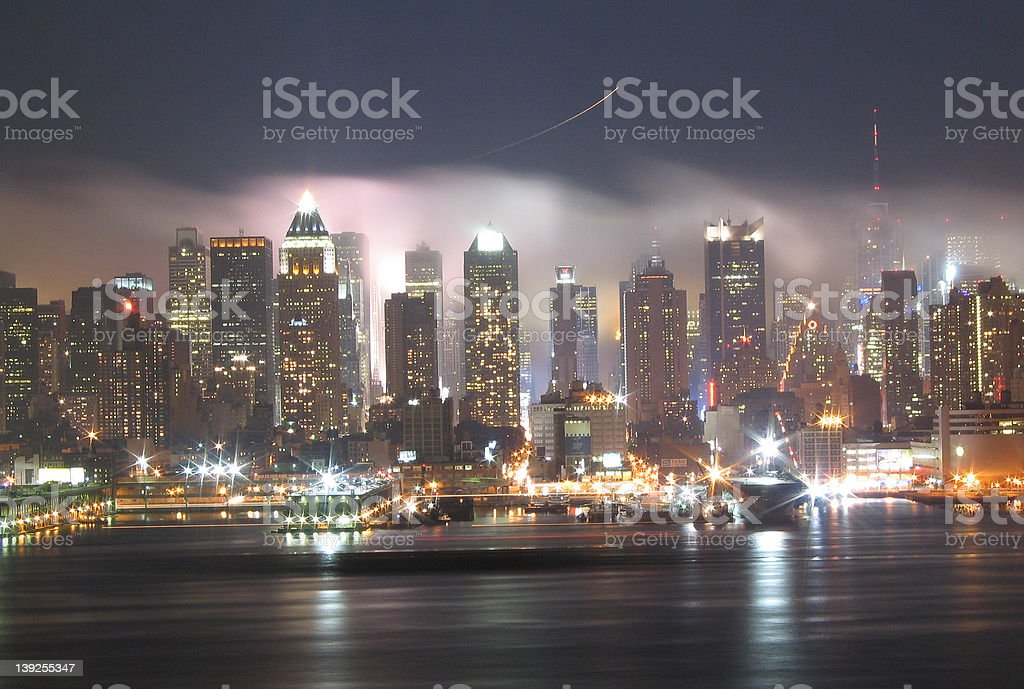 Fog rolling into New York stock photo