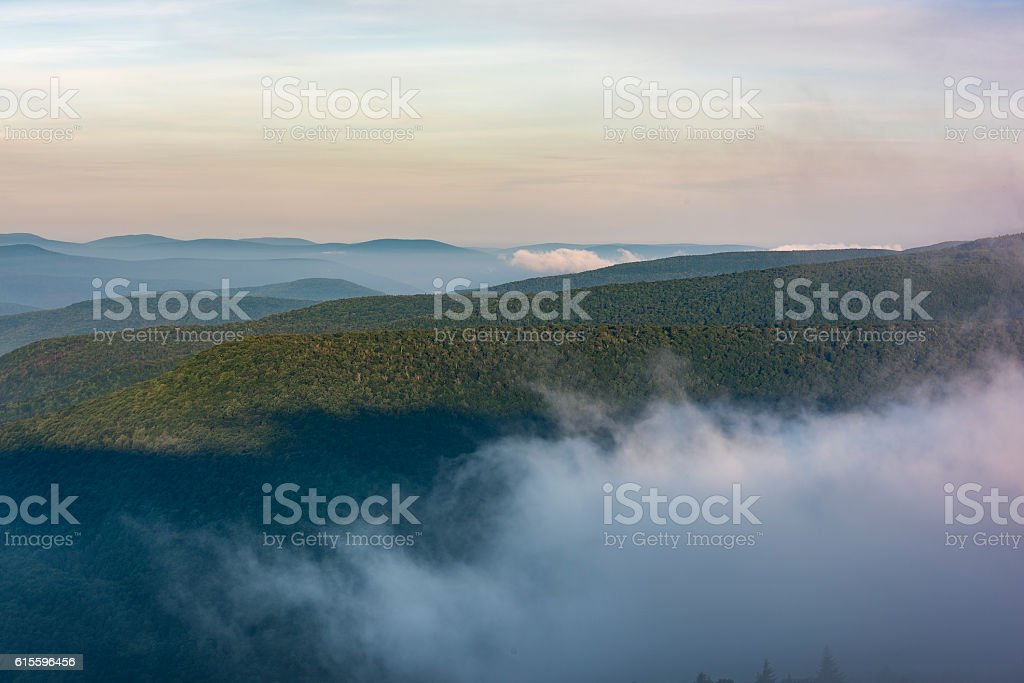 Fog Rolling Through the Catskill Mountains stock photo