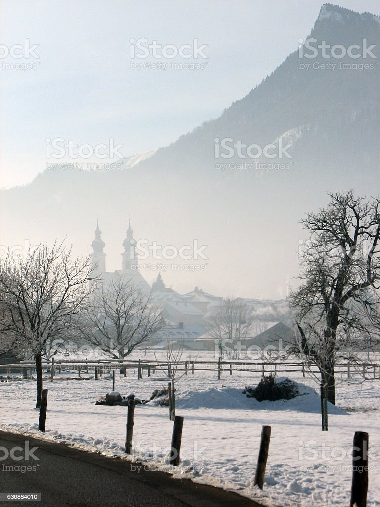 Fog setting in over German town stock photo