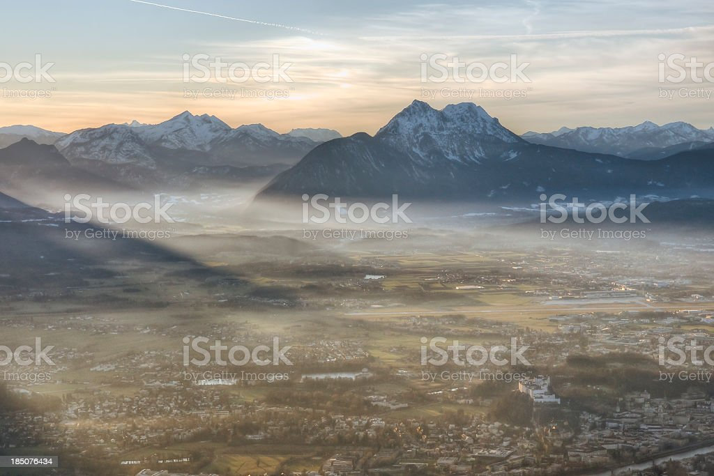 Fog Settling in the Alps stock photo