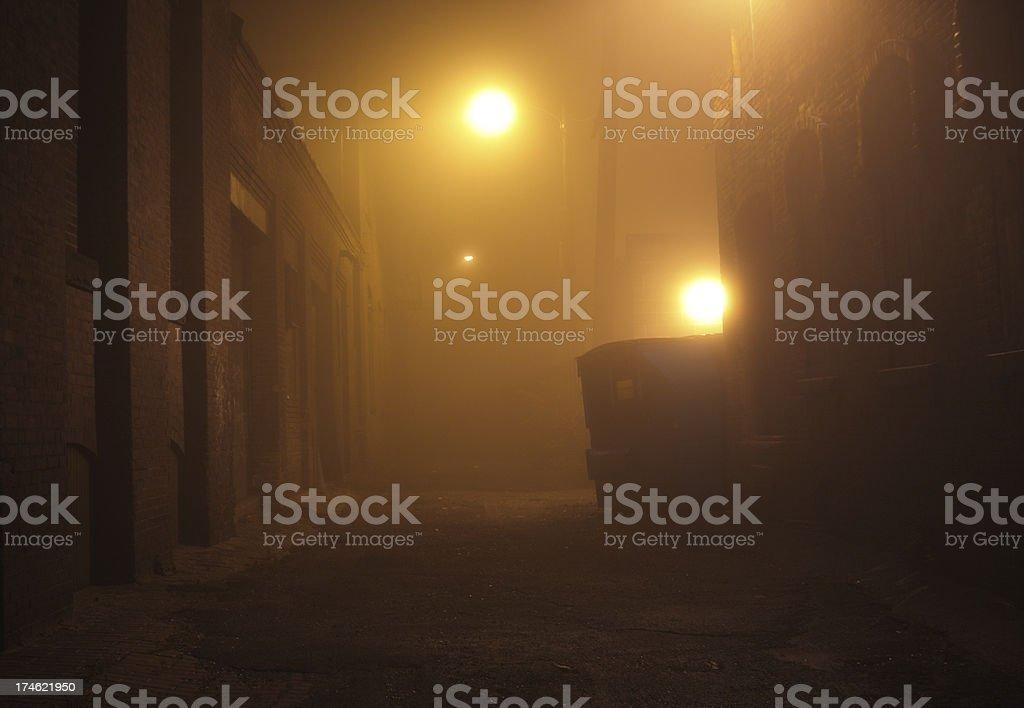 Fog Shrouded Urban Alley royalty-free stock photo