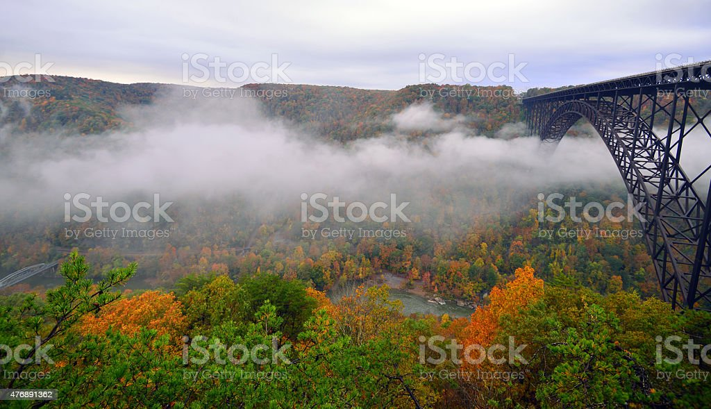 Fog under the bridge at Red river Gorge,WV stock photo
