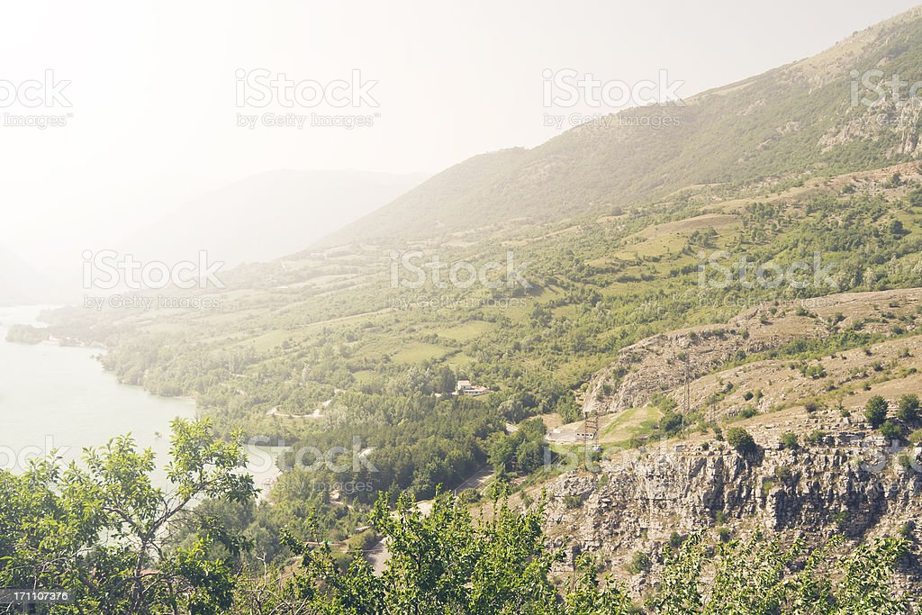 Fogghy Morning at Lake, Italy stock photo