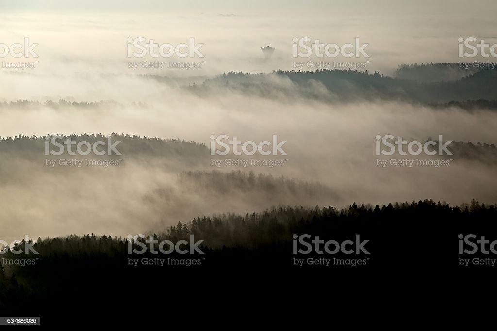 Foggy Aerial Landscape stock photo