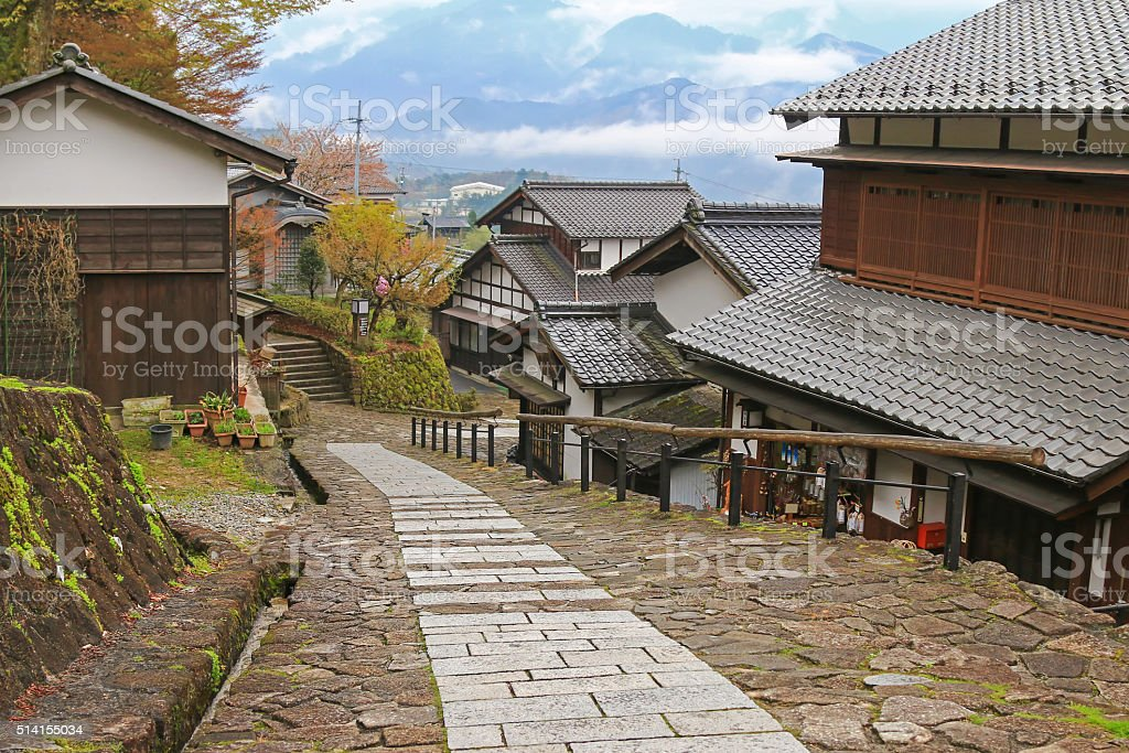 Foggy afternoon at the well preserved village in Magome-juku, Japan stock photo