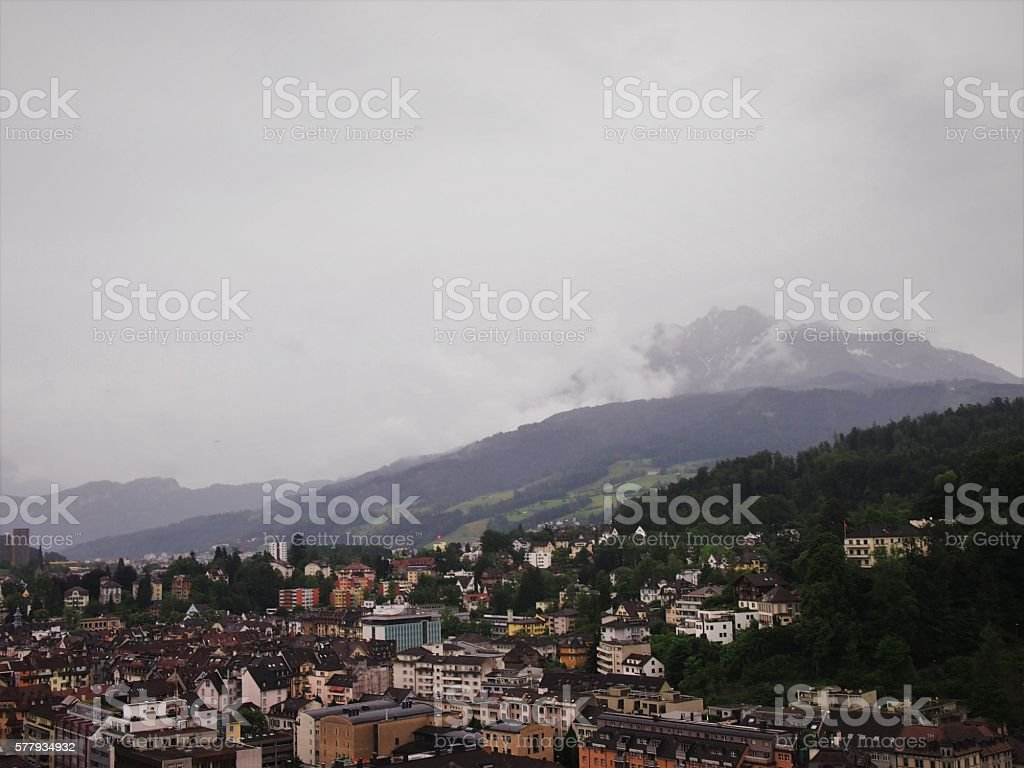 Foggy Afternoon in Switzerland stock photo