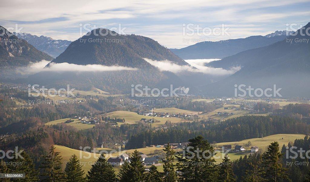 Foggy Austrian Alps Panorama (XXXL) stock photo