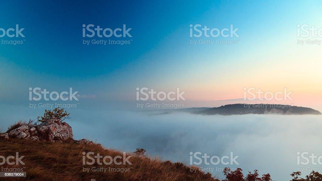 Foggy autumn evening in Val Rosandra stock photo