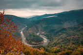 Foggy autumn morning along the Arda River, Rhodope Mountains, Bulgaria