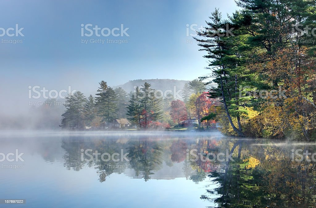 Foggy Autumn Morning in the Monadnock Region of New Hampshire stock photo