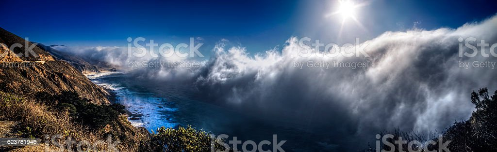 Foggy Big Sur Pacific Coastline in California stock photo