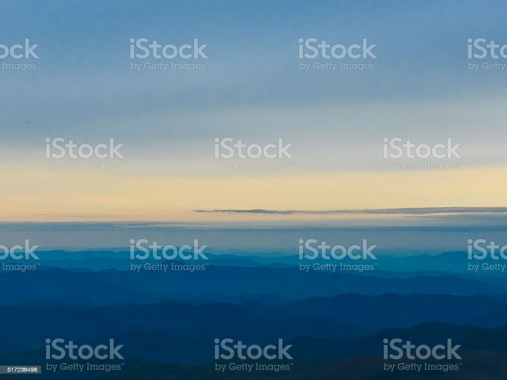 Foggy Blue Ridge Mountain Range stock photo