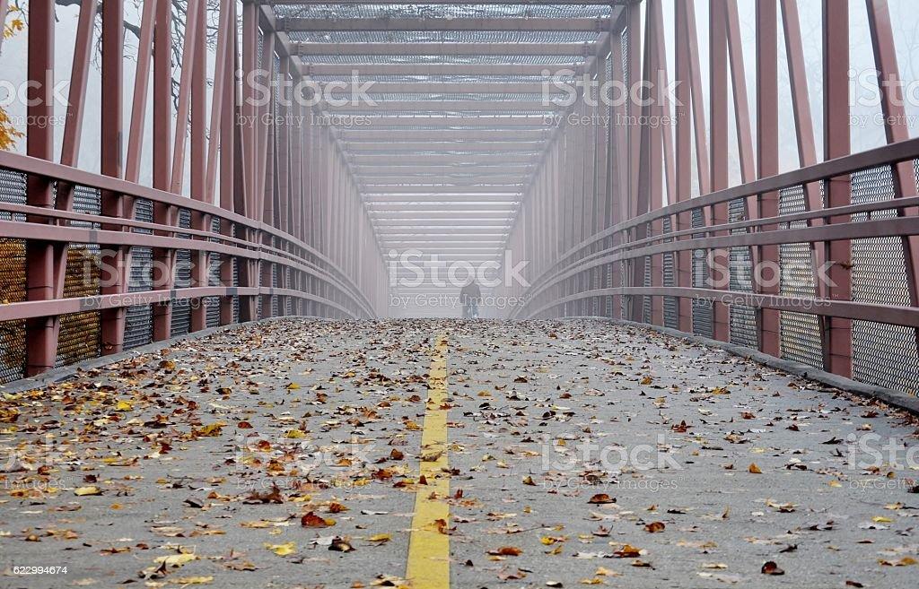 Foggy bridge. Copy space. stock photo
