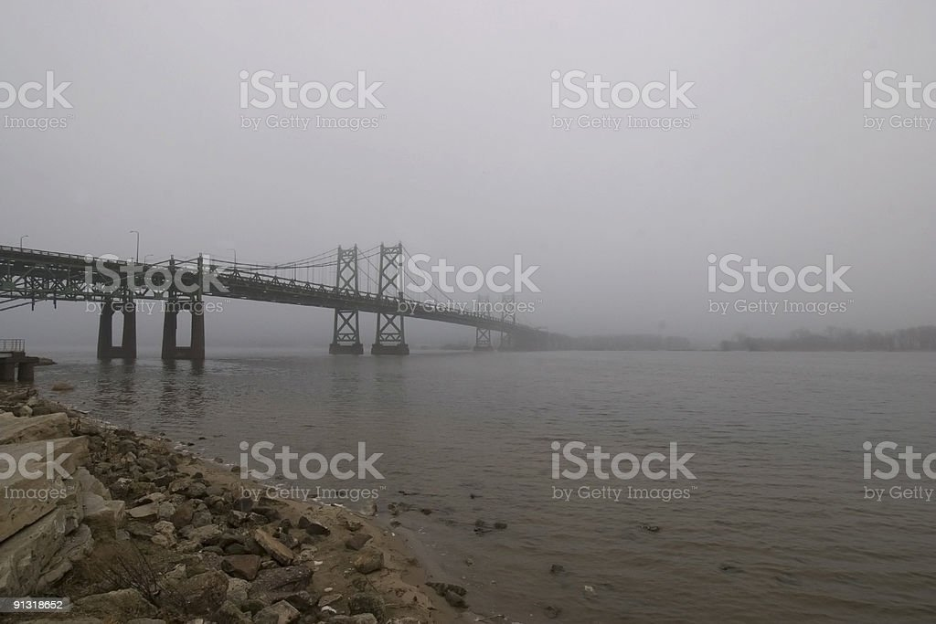 Foggy Bridge Crossing Mississippi River at the Quad Cities royalty-free stock photo