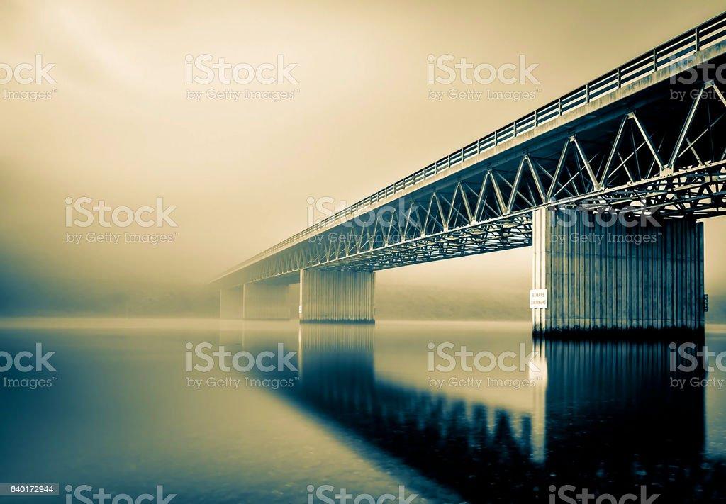 foggy bridge stock photo