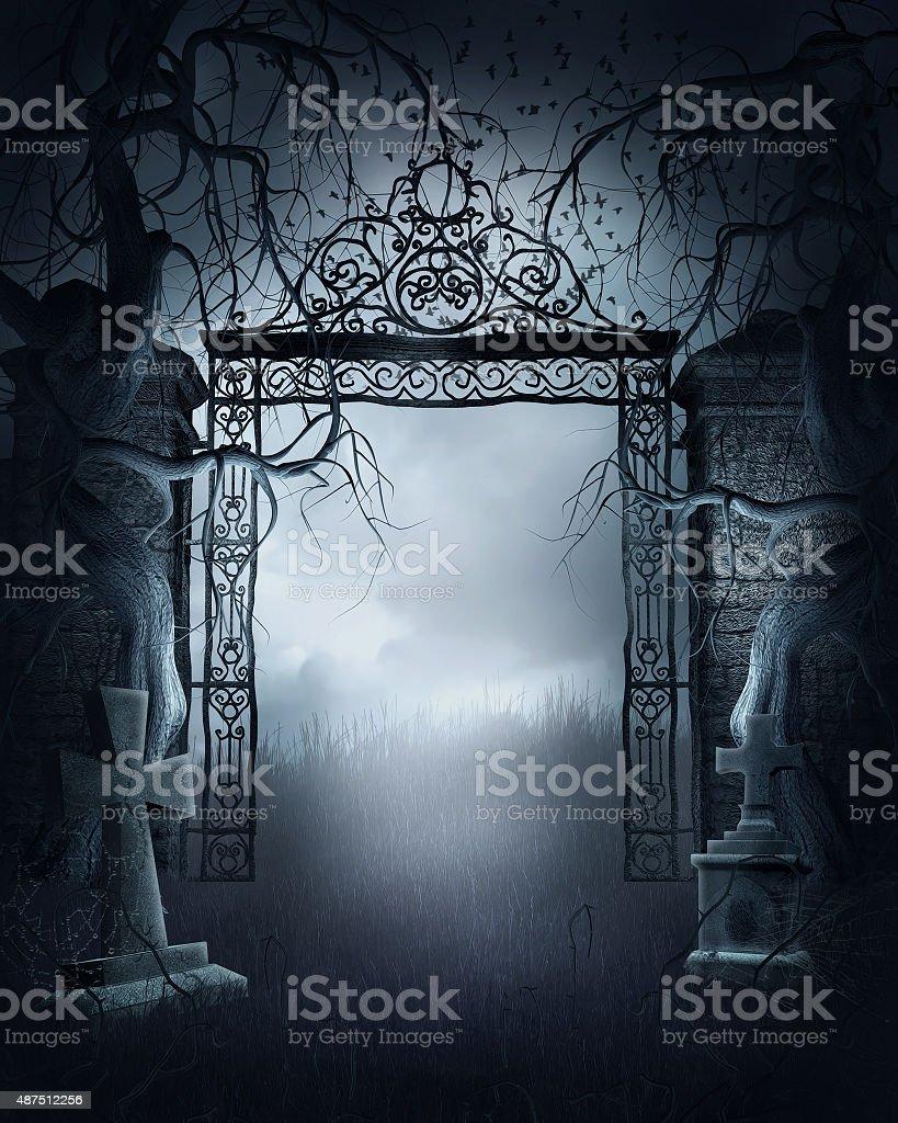 Foggy cemetery gate stock photo