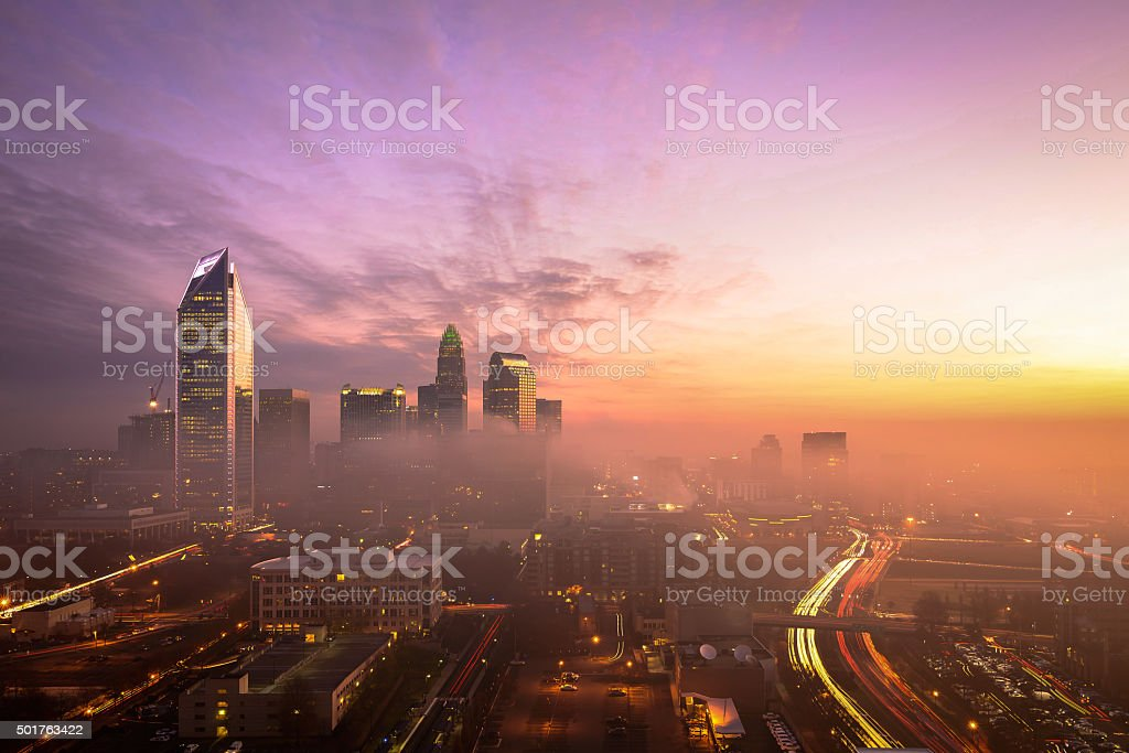 Foggy Charlotte, North Carolina Sunrise stock photo