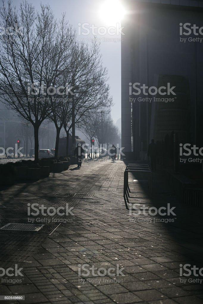 Foggy City Morning stock photo