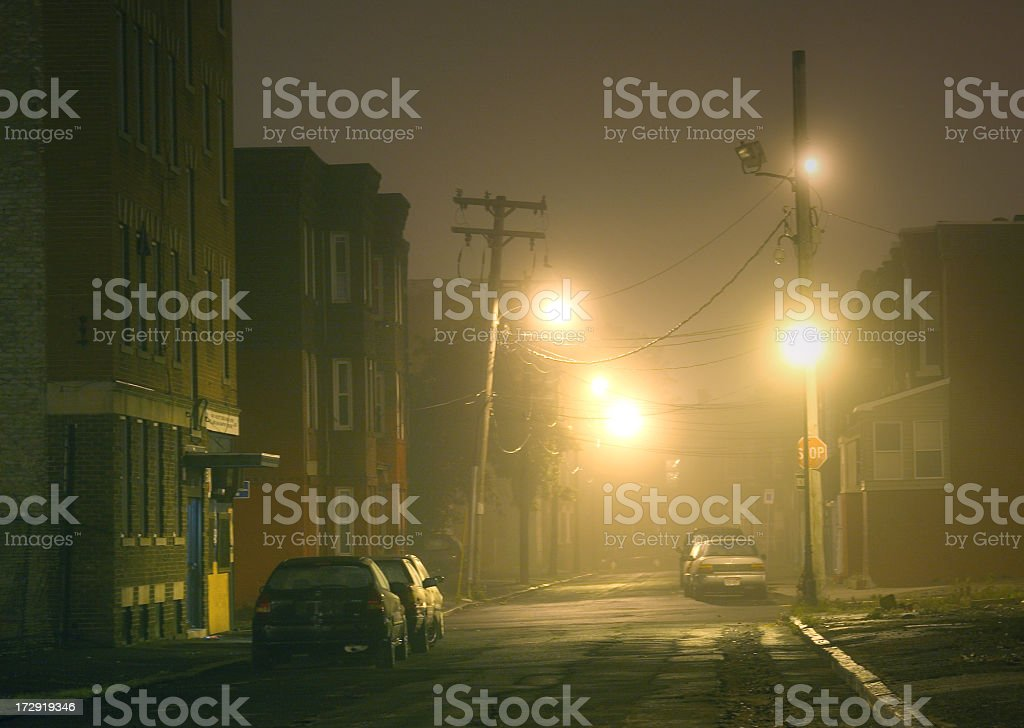 Foggy City Street stock photo