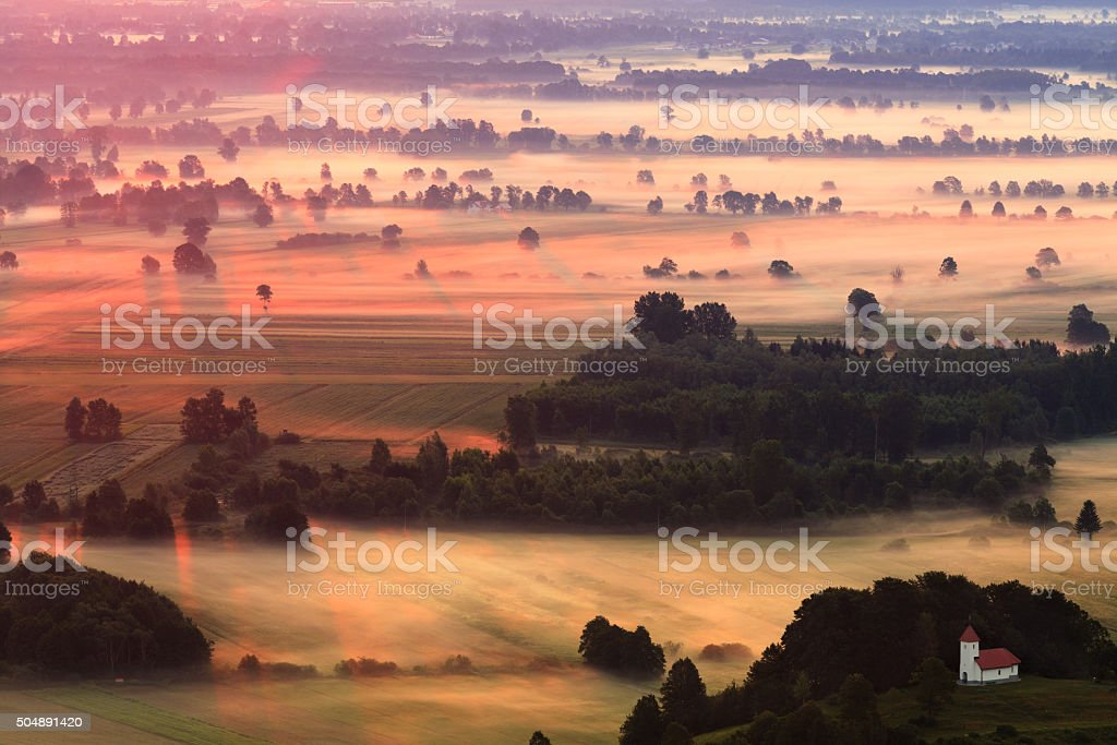 Foggy Country-side Morning stock photo