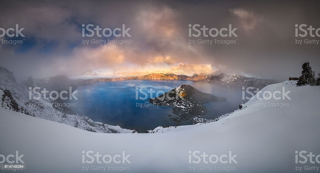 Foggy Crater Lake stock photo