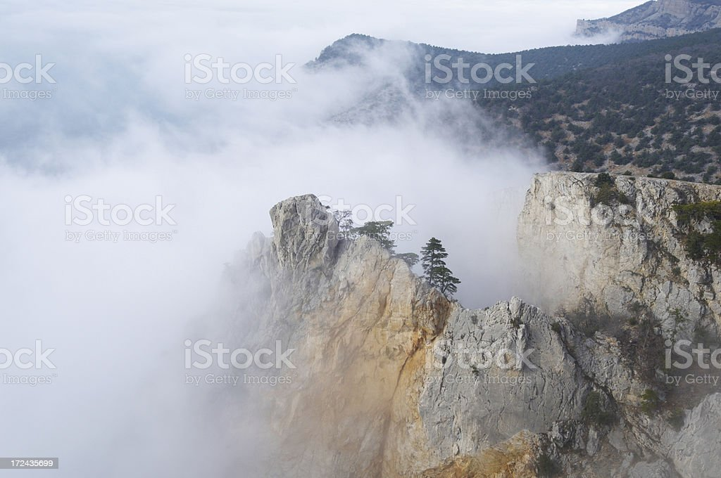 Foggy Crimean mountains royalty-free stock photo