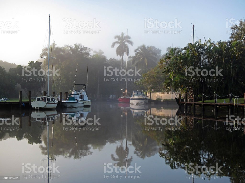 Foggy Dawn on Fort Lauderdale's New River stock photo