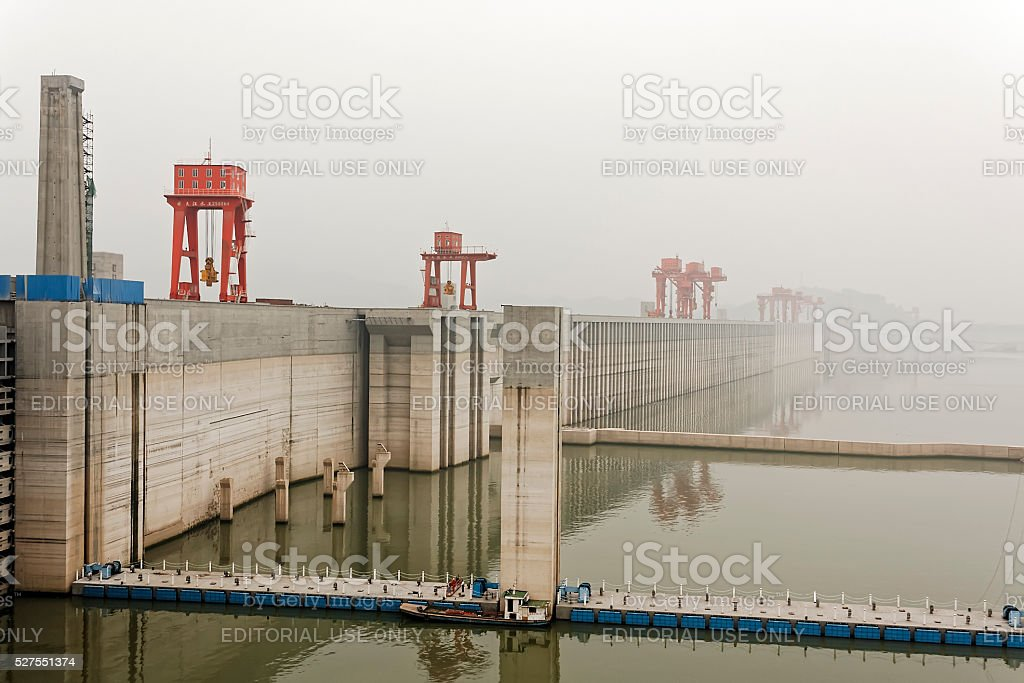 foggy day at the Three Gorges Dam stock photo