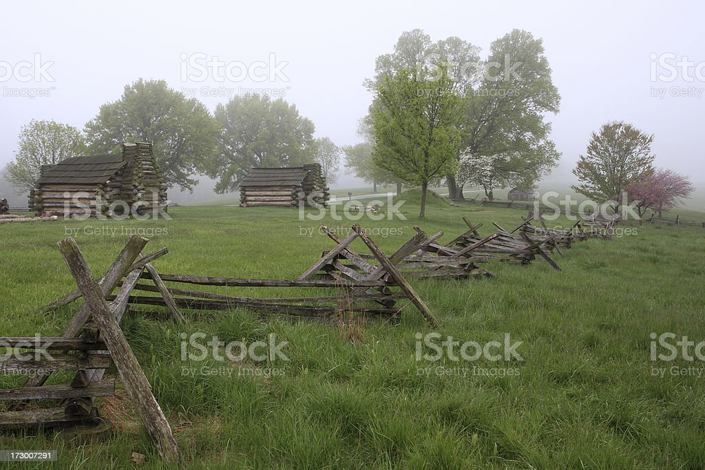 Foggy day at Valley Forge stock photo