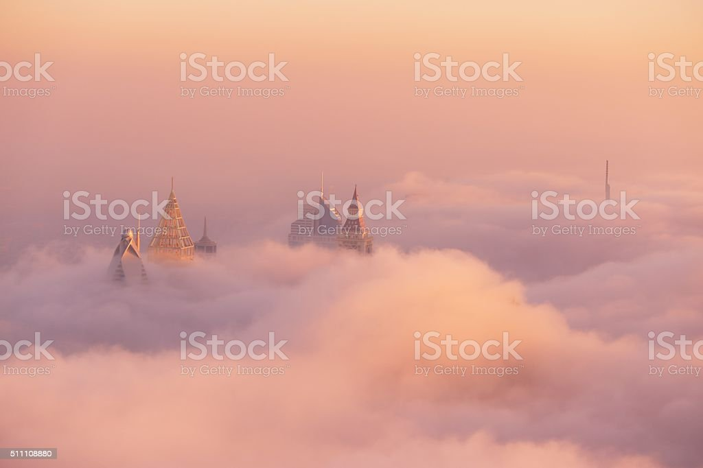 foggy day in Dubai stock photo