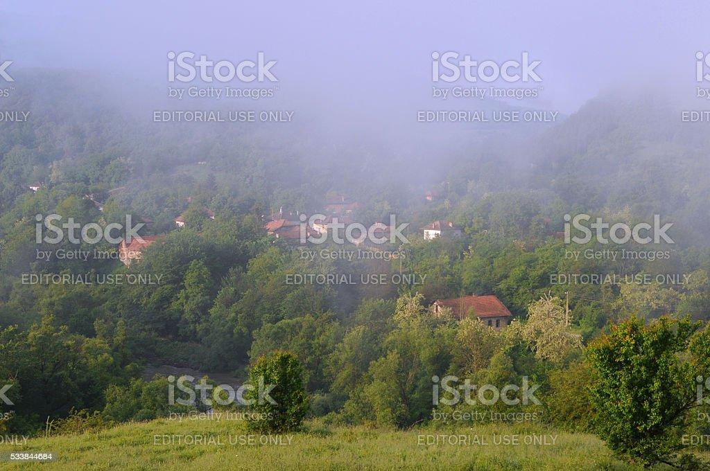 Foggy Day in Vetrintsi stock photo