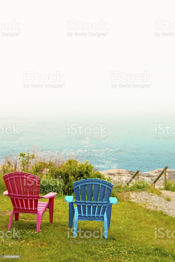 Foggy Day on the Maine coast stock photo