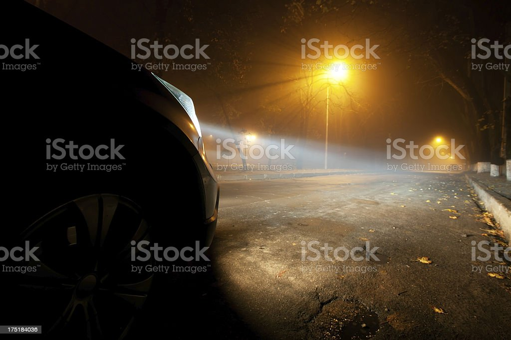 Foggy driving stock photo