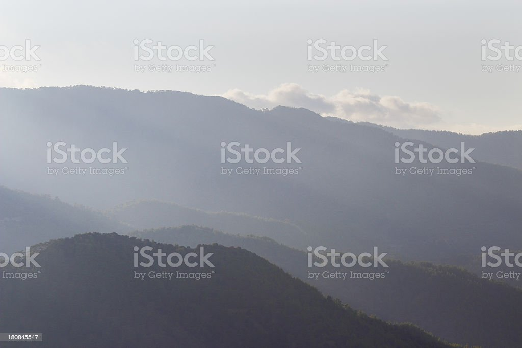 foggy early morning sunrise Troodos cypriate mountains  Cyprus stock photo