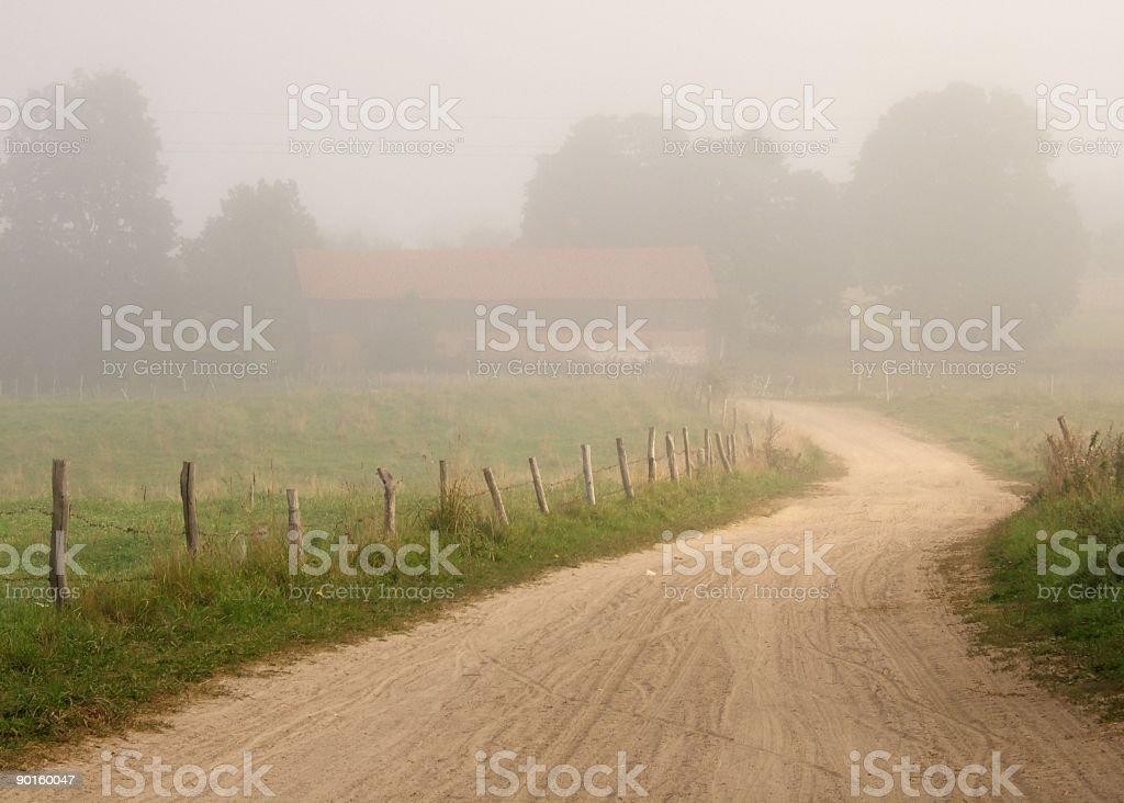 foggy farm stock photo