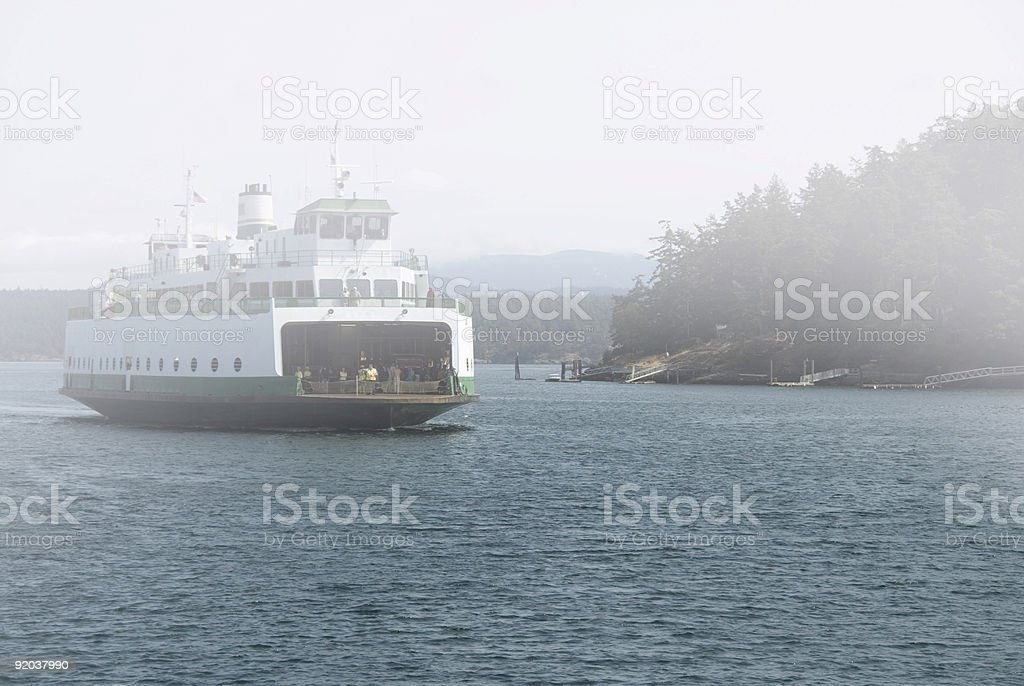 Foggy ferry landing royalty-free stock photo