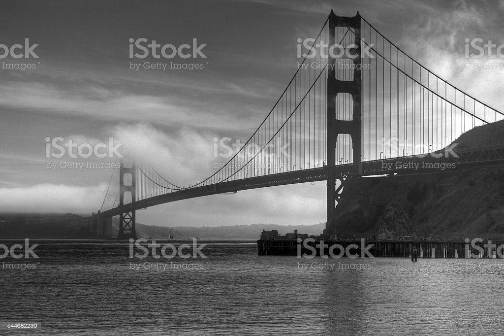Foggy Golden Gate Bridge in Black & White stock photo