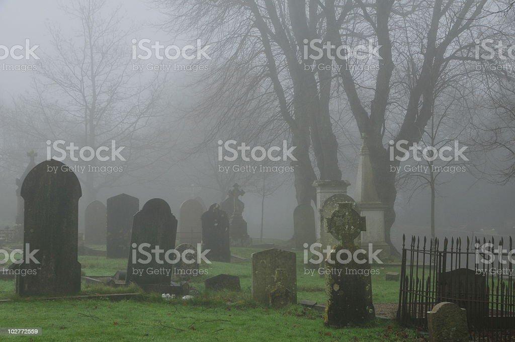 Foggy graveyard,Jersey. stock photo