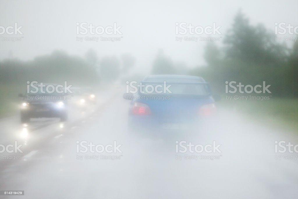 Foggy gray road stock photo
