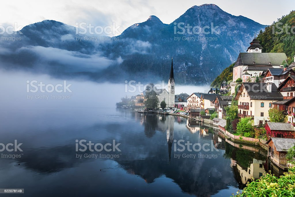 Foggy Hallstatt in autumn stock photo