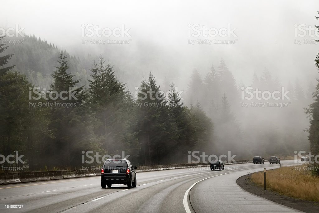 Foggy Highway near Snoqualmie Pass stock photo