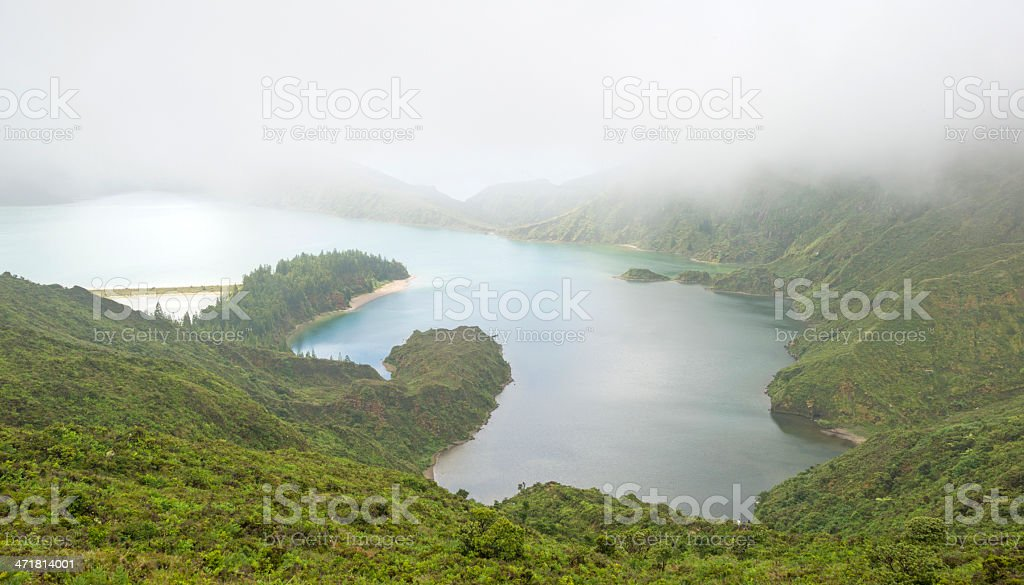 Foggy lake in a volcanic crater on the Azores royalty-free stock photo