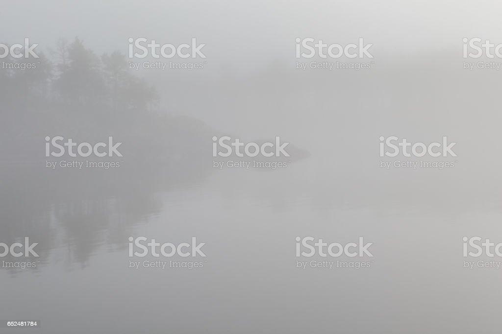 Foggy lake. stock photo