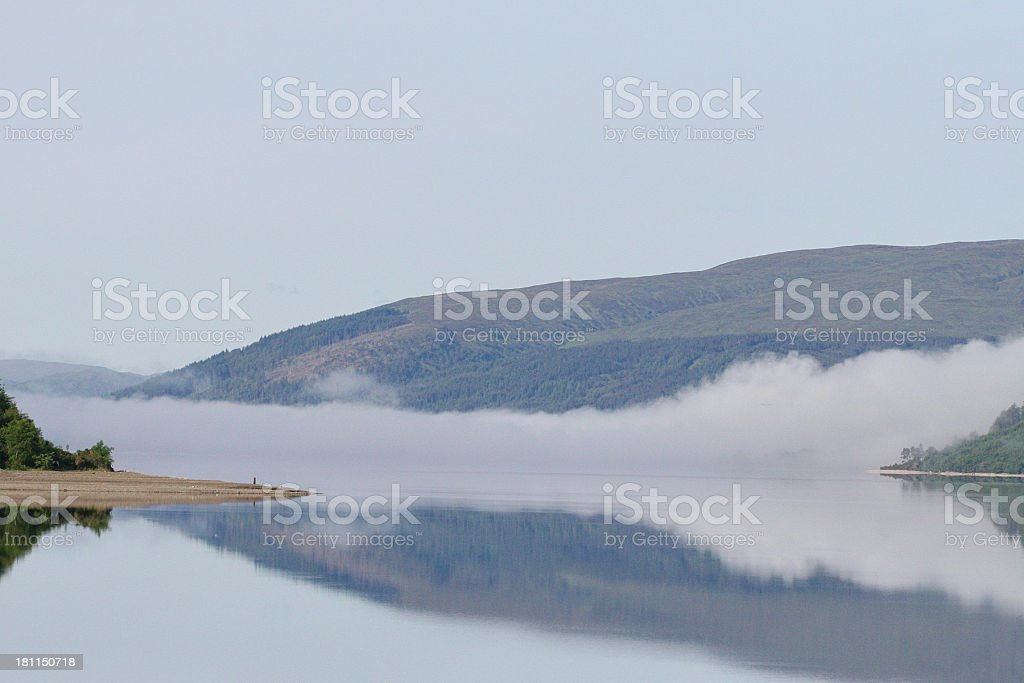 Foggy Lake, Scottish Highlands royalty-free stock photo