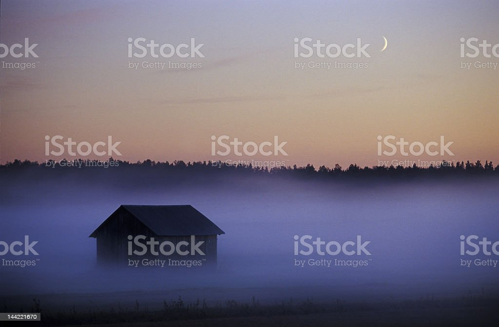 foggy landscape in finland royalty-free stock photo